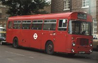 KJD421P in allover red London Transport livery