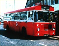 Red and white London Transport livery